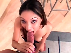 Nautica Thorn sucks big cock with her wet mouth