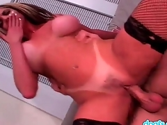 Big tits with tan lines exposed to sexy cocksucker