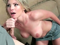 Beautiful Brianna Brooks blows a policeman