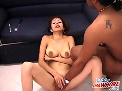 Cum whore takes a load and brushes her teeth
