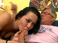 Sandra Romain is not obedient step daughter coupled with their way Dad decides to chew out their way giving burnish apply girl of the first water sexual lesson where she sucks his dick coupled with then rides his cock