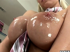 Sweet, oiled up titties and wet pussy beg this Hungarian ultra horny